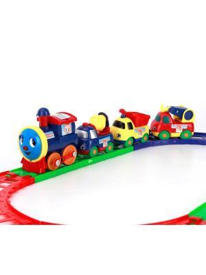 Железная дорога Играем Вместе Паравозик из Ромашково. Цвет: синий, желтый, зеленый, красный