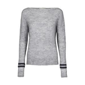 Пуловер с круглым вырезом из тонкого трикотажа AND LESS. Цвет: серый меланж
