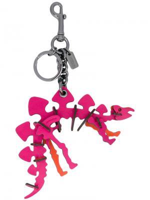Брелок в виде динозавра Coach. Цвет: розовый и фиолетовый