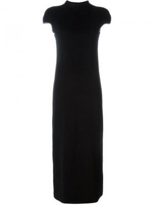 Бархатное платье с контрастной окантовкой Yohji Yamamoto Vintage. Цвет: чёрный