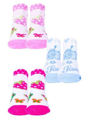 Носки, 3 пары Malerba. Цвет: голубой, розовый