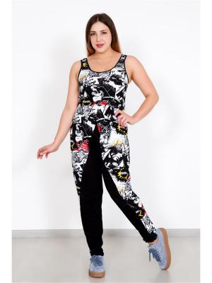 Костюм (майка, штаны) Lika Dress. Цвет: черный, белый
