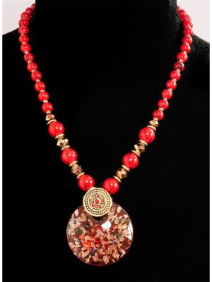 Колье из муранского стекла Castlelady. Цвет: красный, бронзовый, золотистый