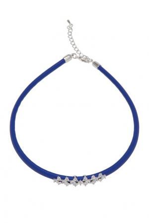 Кожаный чокер с кристаллами Herald Percy. Цвет: синий