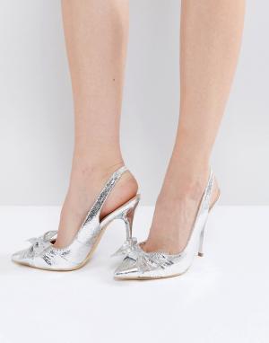 Office Туфли-лодочки на каблуке с бантом Harty. Цвет: серебряный