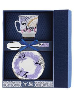 Набор чайный Майская - Посвящение Анне Андреевне 3 предмета + футляр АргентА. Цвет: серебристый