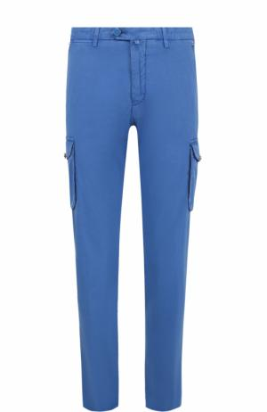 Хлопковые брюки карго Kiton. Цвет: голубой