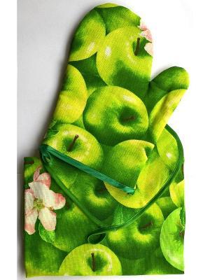 Кухонный набор из 3 полотенец, прихватки и варежки, хлопок Letto. Цвет: зеленый