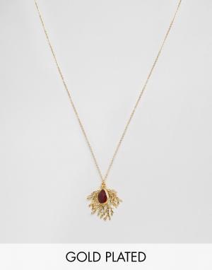 Ottoman Hands Ожерелье с подвеской‑папоротником и камнем. Цвет: золотой