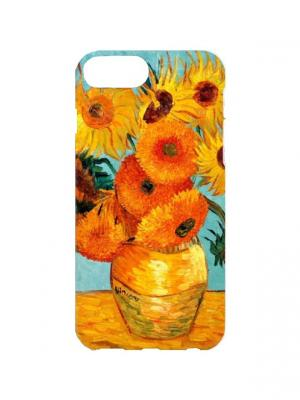 Чехол для iPhone 7Plus Ван Гог - Подсолнухи Арт. 7Plus-124 Chocopony. Цвет: оранжевый, голубой, желтый
