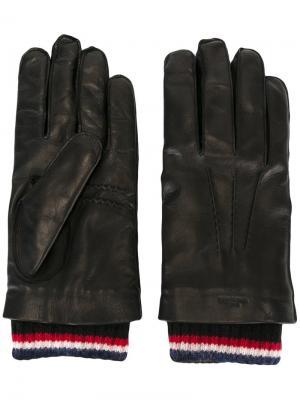 Перчатки с деталями в полоску Thom Browne. Цвет: чёрный