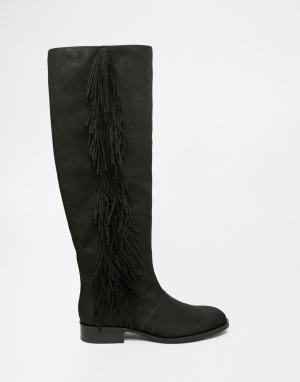 Sam Edelman Черные кожаные сапоги с бахромой Josephine. Цвет: черный
