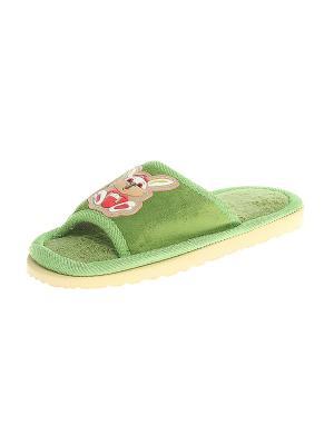 Тапочки домашние детские Migura. Цвет: зеленый, бежевый, красный, белый