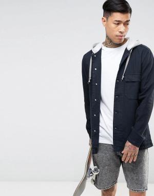 ASOS Джинсовая рубашка навыпуск с капюшоном серого цвета. Цвет: черный