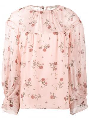 Блузка с принтом роз Lauren Emilia Wickstead. Цвет: розовый и фиолетовый