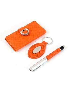Подарочный набор: ключница, ручка, брелок 21*16*4см Русские подарки. Цвет: оранжевый