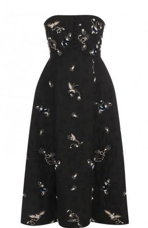 Приталенное платье-бюстье с контрастной отделкой Erdem. Цвет: черный