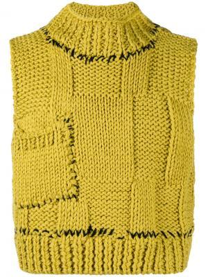 Укороченный трикотажный жилет Raf Simons. Цвет: жёлтый и оранжевый