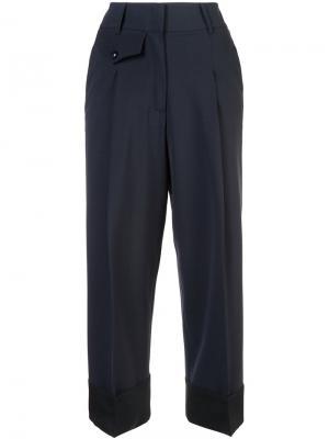 Классические укороченные брюки Maison Flaneur. Цвет: синий