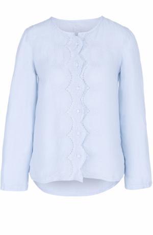 Льняная блуза свободного кроя с кружевной отделкой 120% Lino. Цвет: голубой