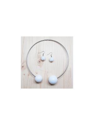 Комплект украшений Pair Duo (серебро с белым) Kawaii Factory. Цвет: белый