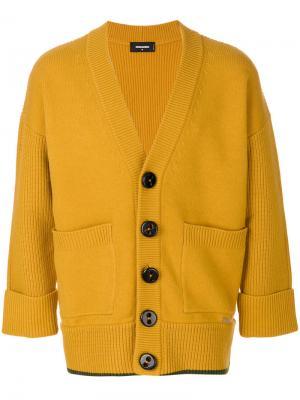 Кардиган свободного кроя Dsquared2. Цвет: жёлтый и оранжевый