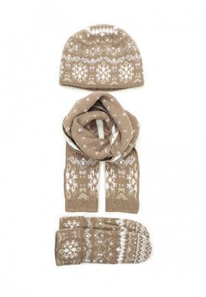 Комплект шапка, шарф и варежки Ferz. Цвет: коричневый