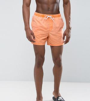 ASOS Короткие оранжевые шорты для плавания с эффектом кислотной стирки. Цвет: оранжевый
