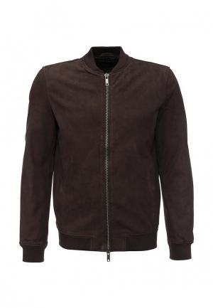 Куртка кожаная ADPT. Цвет: коричневый