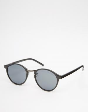 Black Phoenix Черные круглые солнцезащитные очки. Цвет: черный
