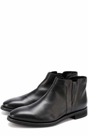 Кожаные ботинки на молнии с внутренней меховой отделкой Barrett. Цвет: черный