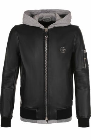 Кожаная куртка на молнии с капюшоном Philipp Plein. Цвет: черный