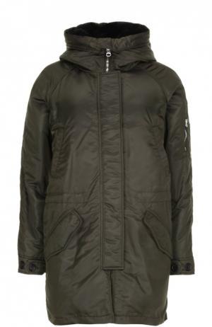 Куртка с воротником Lempelius. Цвет: темно-зеленый