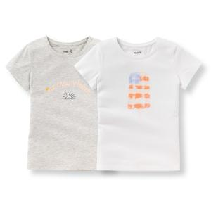 Комплект из 2 футболок с рисунком, 3-12 лет La Redoute Collections. Цвет: белый + серый меланж