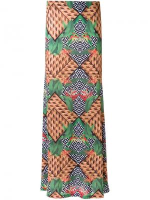 Printed maxi skirt Blue Man. Цвет: зелёный