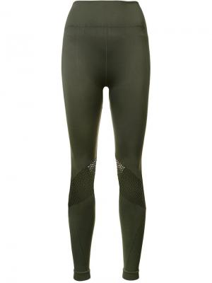 Mesh detail seamless leggings Alala. Цвет: зелёный