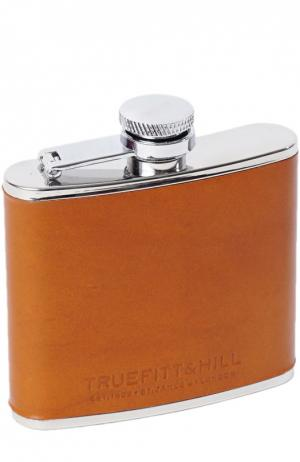 Малая стальная фляга в кожаном переплете Truefitt&Hill. Цвет: бесцветный