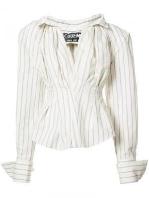 Объемная рубашка в полоску Jacquemus. Цвет: белый