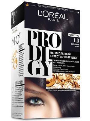 Краска для волос Prodigy без аммиака, оттенок 1.0, Обсидиан L'Oreal Paris. Цвет: черный, белый