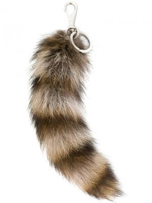 Полосатый меховой брелок Givenchy. Цвет: телесный