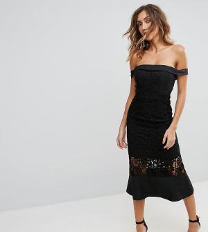 Jarlo Tall Платье миди с кружевной вставкой и открытыми плечами. Цвет: черный