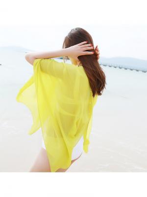 Новинка пляжного сезона - парео-пончо. (100Х147 см.) Можно использовать как палантин (50Х147 см.). City Flash. Цвет: желтый