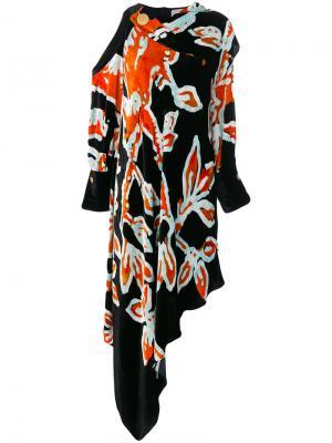 Асимметричное платье с драпировкой Peter Pilotto. Цвет: синий