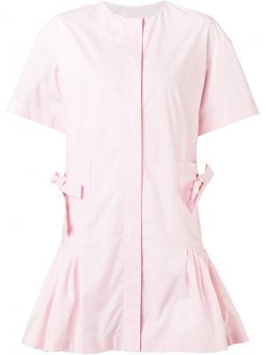Расклешенное платье-рубашка Minjukim. Цвет: розовый и фиолетовый