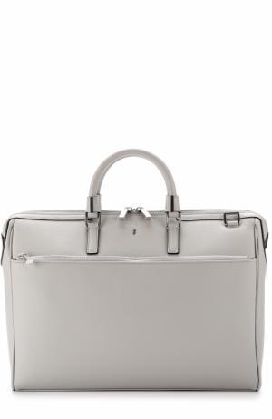 Кожаная сумка для ноутбука с плечевым ремнем Serapian. Цвет: светло-серый
