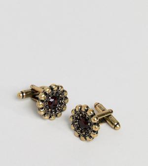 Reclaimed Vintage Запонки с черепами и красными камнями Inspired экскл. Цвет: золотой