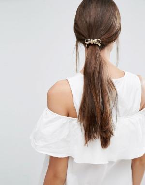 Orelia Резинка для волос с бантом. Цвет: коричневый
