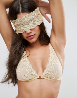 ASOS Золотистая повязка на глаза с вышивкой BRIDAL Paloma. Цвет: золотой