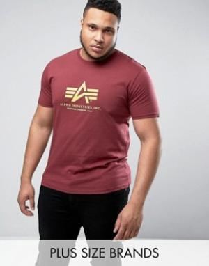 Alpha Industries Бордовая футболка классического кроя PLUS. Цвет: красный