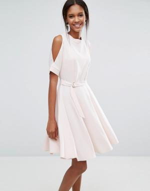 Closet London Свободное платье с разрезами на рукавах и завязкой спереди. Цвет: розовый